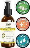 Viva Naturals Organic Jojoba Oil; USDA Certified Organic, 100% Pure & Cold-Pressed, Natural Moisturizer for Nail Nourishment, Hair Health & Skin, 4 oz