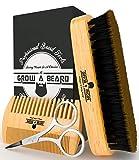 Beard Brush & Comb Set for Men's Care | Gentleman's Giveaway Mustache Scissors | Gift Box & Travel Bag | Best Bamboo Grooming Kit to...