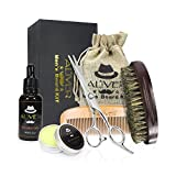 Beard Grooming Kit,Natural Beard Balm,Beard Oil,Wooden Beard Brush,Beard Comb - Mustach & Beard Trimming Scissors for Styling and Shaping - Mustache Care Gift Set - Best for Home & Travel