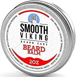 Beard Balm with Leave-in Conditioner- Styles, Strengthens & Thickens for Healthier Beard Growth, while Argan Oil and Wax Boost Shine and Maintain Hold- 2 oz Smooth Viking