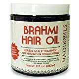 Brahmi Hair Oil (8 oz) by Vadik Herbs   All natural herbal hair oil for hair growth, hair conditioning, dandruff and dry scalp   Herbal...