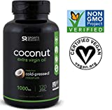 Vegan Coconut Oil Capsules made from Organic Coconuts | Vegan Certified,non-GMO project verified (120 veggie-softgels)