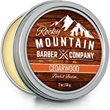 Beard Balm - Rocky Mountain Barber - 100% Natural - Premium Wax Blend with Cedarwood Scent, Nutrient Rich Bees Wax, Jojoba, Tea Tree,...