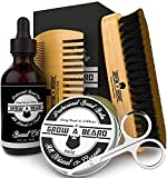 Beard Brush & Comb Set for Men's Care | Christmas Giveaway Mustache Scissors | Gift Box & Travel Bag | Best Bamboo Grooming Kit to...