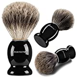 Perfecto 100% Pure Badger Shaving Brush-Black Handle- Engineered for The Best Shave of Your Life. for, Safety Razor, Double Edge Razor,...