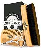 Beard Brush, Comb, & Scissors Grooming Kit for Men's Care, Perfect to Distribute Balm or Oil for Growth & Styling, Adds Shine &...