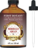 Moroccan Organic Argan Oil for Hair, Skin, Face, Nails, Cuticles & Beard 4 fl. oz. - Best Anti-Aging, Anti-Wrinkle, Triple Extra Virgin...