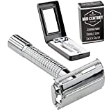 Journeyman Safety Razor with safe-grip handle & 5 Double Edge (DE) Blades and Travel Case - Single Blade Butterfly/TTO Open Shaving Kit...