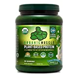 Organic Muscle Plant-Based Protein Powder | 24g Protein from Peas, Hemp & Rice w/ Fiber Blend | Vanilla Flavor | 20 Servings