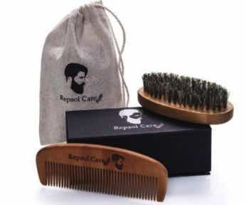 Beard Brush and Beard Comb Kit for Men by Repsol Care