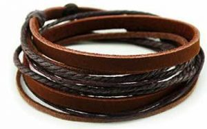 Furuida Genuine Leather Cuff Wrap Bracelet
