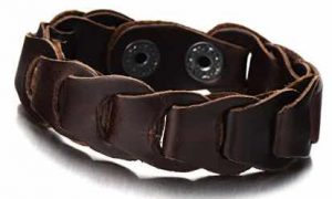 Mens Brown Leather Link Bracelet Leather Bangle Bracelet