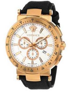 "Versace Men's VFG070013 ""Mystique"" Rose Gold Ion-Plated Watch with Leather Band"
